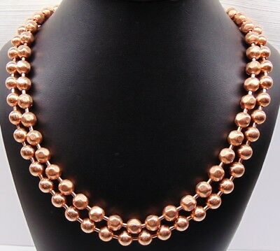 100% COPPER BALL CHAIN Necklaces 9.5mm Round + Faceted Bead ~ Various Lengths - Ball Necklaces