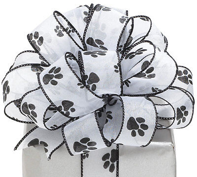 W Shimmering Sheer Wired Edge Ribbon Black & White 20 yards (Paw Print Ribbon)