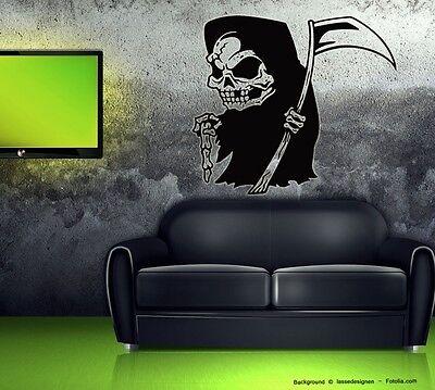 Der Tod Halloween (Wandtattoo Halloween Aufkleber Skelett Der Tod Mini Sensenmann)