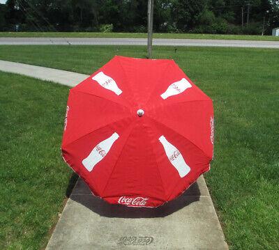 Coca-Cola 6 Ft Patio Umbrella Red Contour Bottle Two-Way Tilt  - BRAND NEW