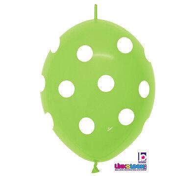 10ct. LIME GREEN POLKA DOT Link-o-Loon 12