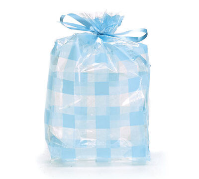 Baby Shower Snacks Boy (Small Lt Blue Gingham Plaid 7x2x3