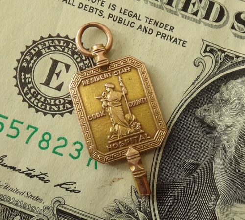 1912 14K Gold COOK COUNTY HOSPITAL Chicago Pendant-Charm-Resident Staff Intern-4