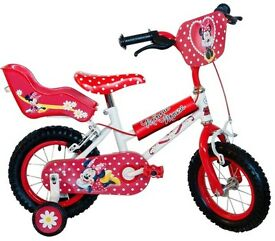 "12"" girls halford Minnie Mouse bike with matching helmet"