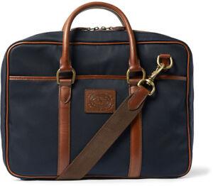 298998623b84 NEW RALPH LAUREN navy blue commuter briefcase messenger Canvas  leather