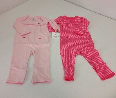 Carters Two Piece Little Layette Baby Pajama Set PInk Size 9m NWT