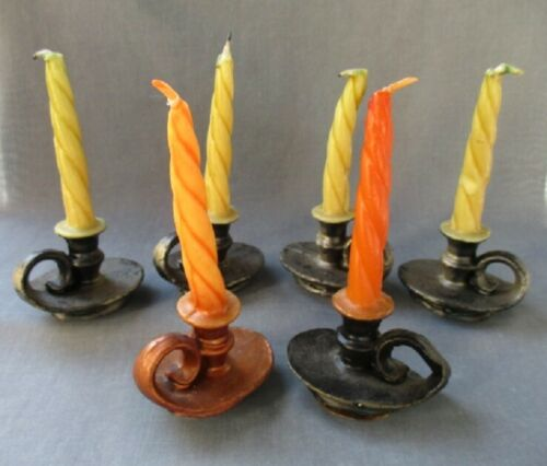 GURLEY twisted Chamber Stick CANDLES ~ lot of 6 ~ for Harvest Tables!