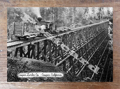 Historic Caspar Lumber Co. - Caspar, California Train Postcard