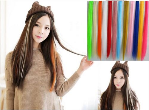 Multi-color Long Straight Synthetic Clip in Hair Extensions Piece For Women Girl