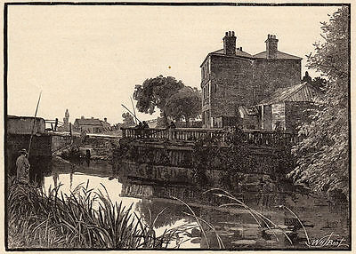 Greater London, Cook's Ferry River Lea 1890s antique engraving ready mounted