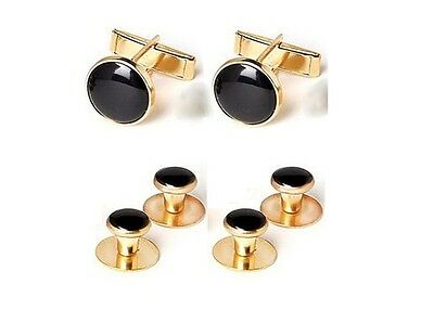 NEW Gold Black Tuxxman Tuxedo Cuff links Shirt Studs Formal Set Tux Cufflinks - Gold Tux