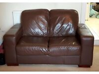 2 seater part leather chocolate brown sofa