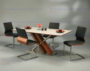 NEW Pastel Rectangular Glass Top Dining Table in Stainless