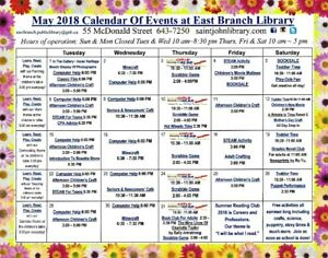 May Calendar of Events - East Branch Public Library