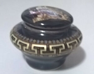 Vintage Miniature Porcelain Trinket Box Decorated With 24K Gold