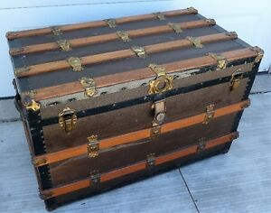 STUNNING Early 1900's Antique Original Wood Steamer Trunk