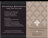Affordable Bookkeeping and Tax Filling services.
