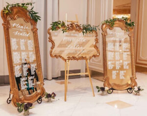 Mirror Seating Charts, Table Number and Welcome Signs for Events
