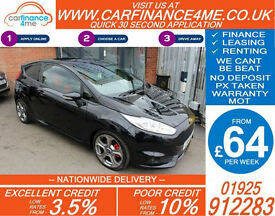2014 FORD FIESTA ST2 1.6 ECOBOOST GOOD / BAD CREDIT CAR FINANCE FROM 64 P/WK