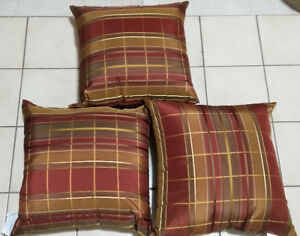 "BRAND NEW 13"" by 13"" Polyester Throw Pillows - 3 pieces"