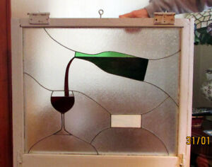 Stained Glass Framed Window Panel, Wine Motif