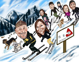 Custom Family Group Caricatures great Christmas Gifts! etc.