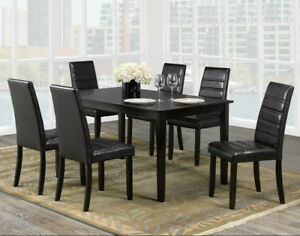Solid wood dinette set with 6 chairs only $399.