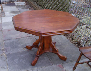 excellent oak table with leaf-refinished