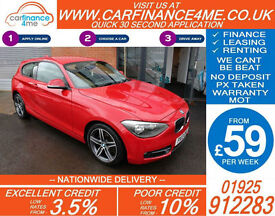 2013 BMW 114D 1.6 TD SPORT GOOD / BAD CREDIT CAR FINANCE FROM 59 P/WK