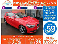 2013 BMW 114D 1.6 TD SPORT GOOD / BAD CREDIT CAR FINANCE FROM 59 P/WK
