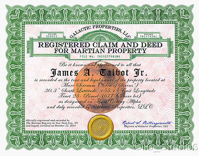 Forget Mars Attacks Card Invasion Own Martian Land! Deed 5 acres of land. 1