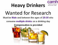 Heavy Drinkers (Male, Age 25-35) Wanted for Research