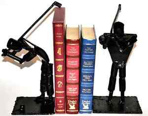 ANTIQUE HAND MADE CAST IRON GOLF SCULPTURES / STATUES OR BOOKEND