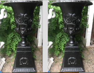 "Beautiful 40"" Pair Lion Head Cast Iron Urns + Wreath Pedestals"
