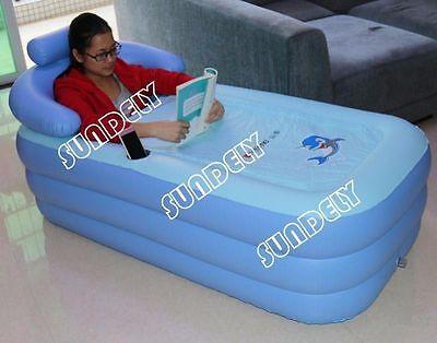 Foldable Outdoor Inflatable Bath Bathtub Spa Portable Bathroom Sun Bed Hot Tub