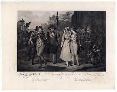 Hochzeit auf dem Land - Aquatinta Tassaert-Legrannd 1835 Geiger-Musik-Selten!