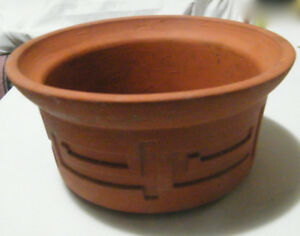 TERRA COTTA PLANTER, WITH SELF-DESIGN. HEIGHT = 3 INCHES