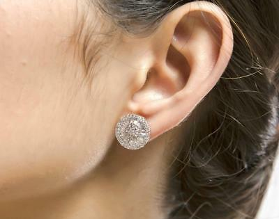 Silver Rhodium Plated CZ Cubic Zirconia Baguette Cut Round Disc Stud Earrings