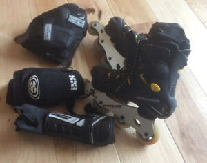 Roller blades size mens 8 and pads