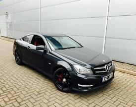 2011 61 Reg Mercedes-Benz C220 CDI AMG Sport Edition 125 Black Coupe RED Leathe