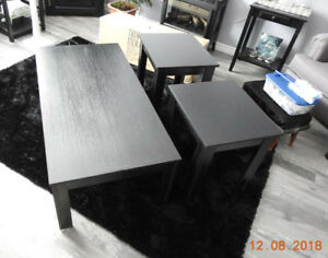 Coffee Table and Two End Tables - Black Wood