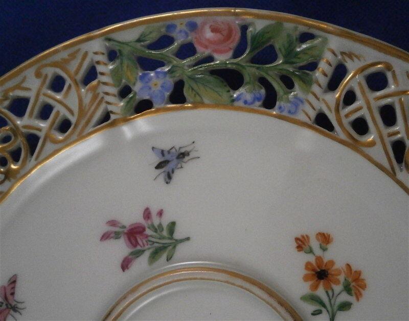 antique 19thc meissen porcelain reticulated saucer porzellan untertasse german picclick. Black Bedroom Furniture Sets. Home Design Ideas