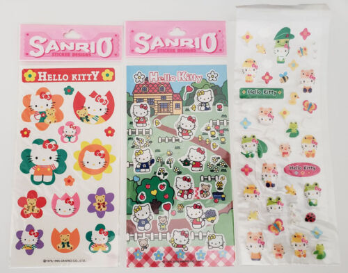 3 x Vintage Sanrio Hello Kitty SPRINGTIME FLOWERS COSTUMES Stickers Sheets LOT