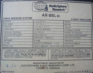 Audio Sphere Research Speakers AX -8BLG Kitchener / Waterloo Kitchener Area image 3