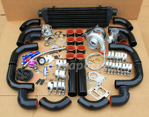 T3/T4 T04E Universal Turbo Charger Kit + WASTEGATE + Black INTERCOOLER & PIPING