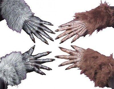 Erwachsene Herren Damen Braun Grau Pelzig Werwolf Halloween Kostüm Handschuhe (Herr Braun Halloween-kostüme)