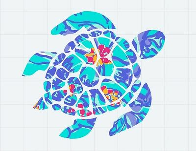 """Sea Turtle in Blue Floral Decal/Sticker Great for Insulated Cups *** 3"""" X 3"""" ***"""