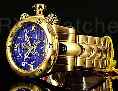 Invicta Mens Reserve Venom Gold Ip Swiss Day Retrograde Chrono Blue Dial Watch