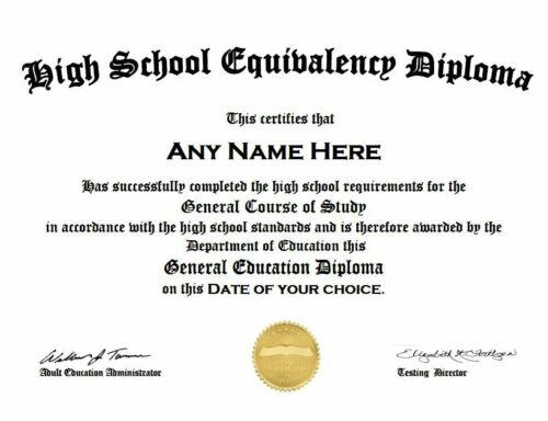 #1 Rated Personalized HIGH SCHOOL GED DIPLOMA Replacement PDF sent within 24 hrs