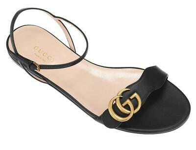NEW GUCCI LIFFORD BLACK LEATHER DOUBLE G FLAT SANDALS SUMMER SHOES 40/US 10